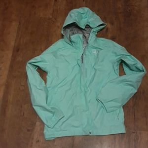The North Face mint green raincoat/windbreaker
